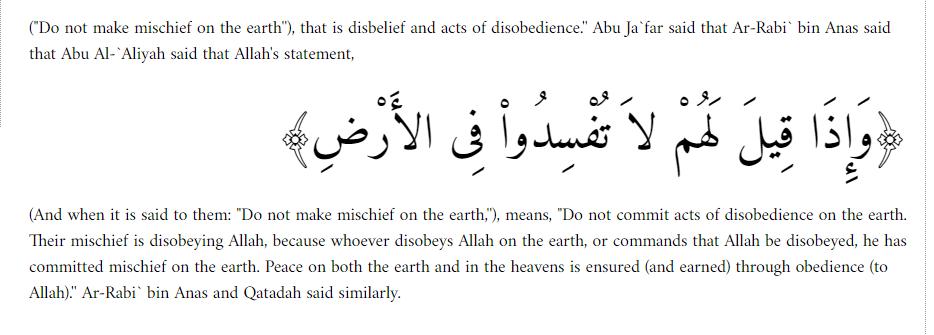 Koran 2 11 meaning of mischeif