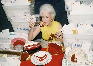 Heloise tasting four versions of Red Velvet Cake sent in by more than 15,000 readers!