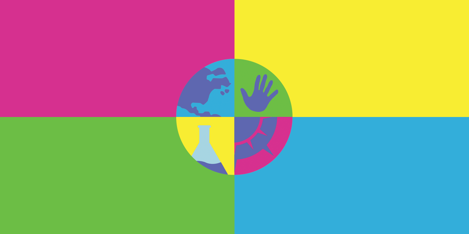 SASSA's logo - a circle split into quarters which contain a map, a hand, a fluid filled beaker, and a compass.