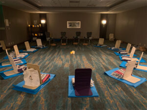 View of yoga mats in a circle