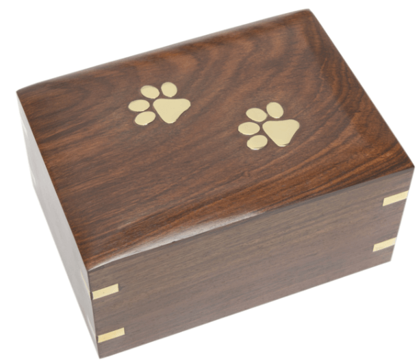 Wooden Pet Urn with Brass Paws