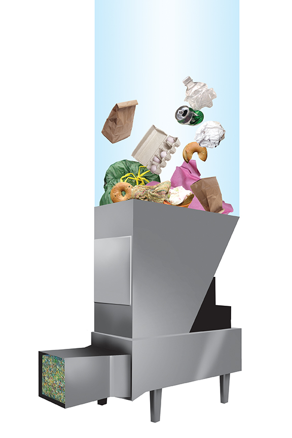 Graphic of a trash compactor