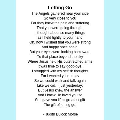 Letting Go, a poem for scattering ashes at sea