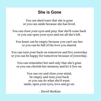 She is Gone, a poem for scattering ashes at sea