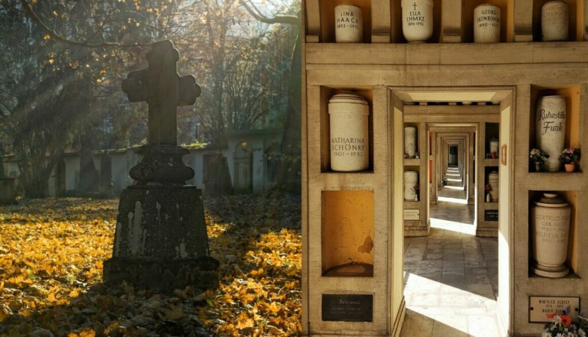 A side by side comparison of burial and cremation.