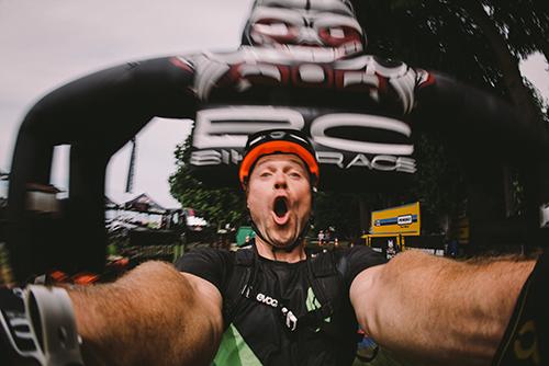 rider is celebrating the finish