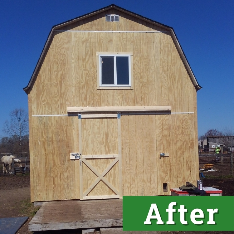 a newly constructed barn