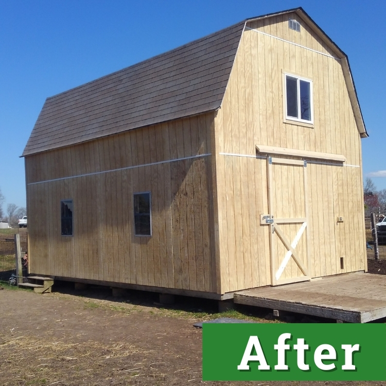 the side of a newly constructed barn