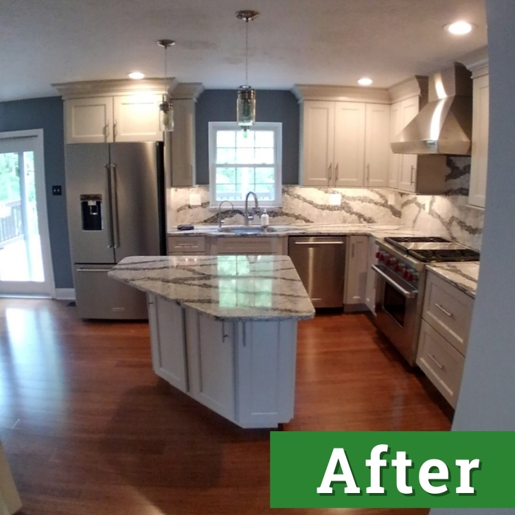 white cabinets and a kitchen island with marble countertops