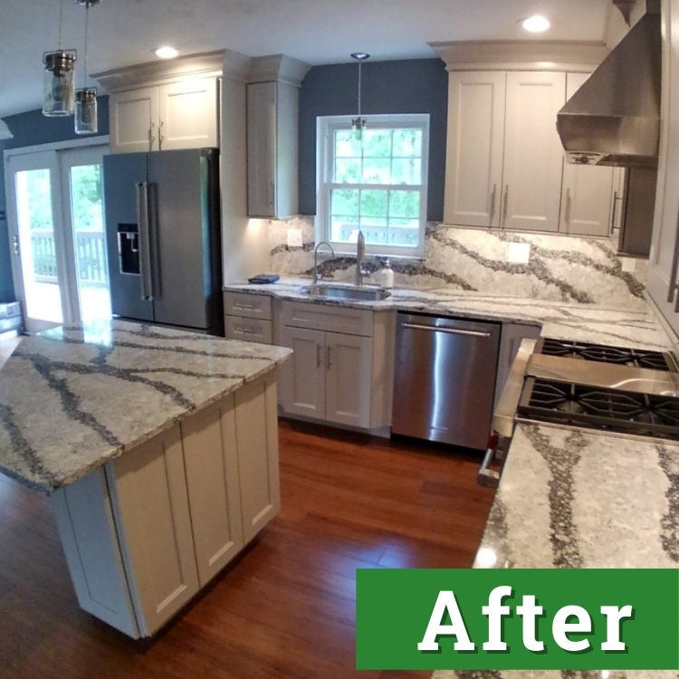 white cabinets with white and black marble countertops