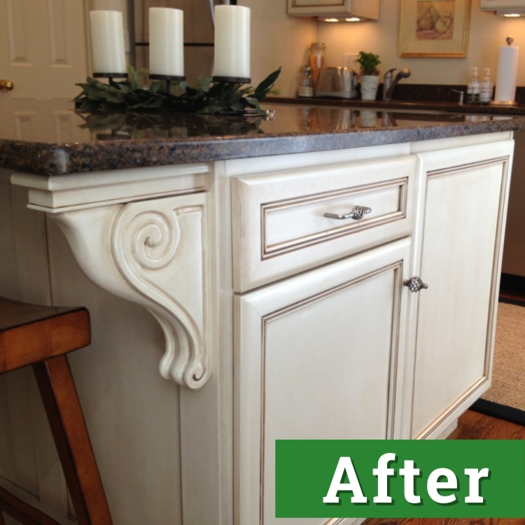 a kitchen island with exquisite white cabinetry