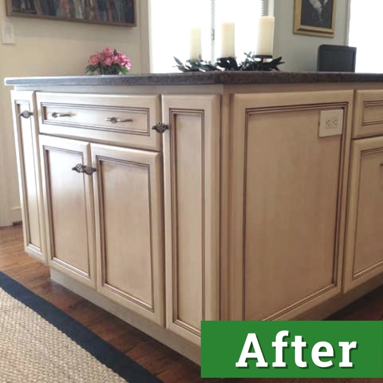 a newly installed kitchen island with white cabinetry