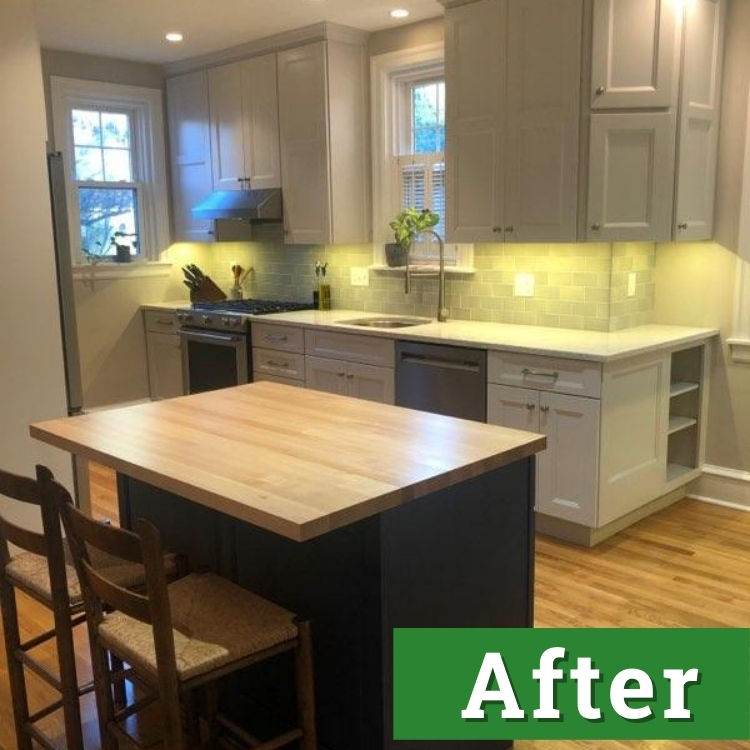 a newly remodeled kitchen with bright lights and white cabinets