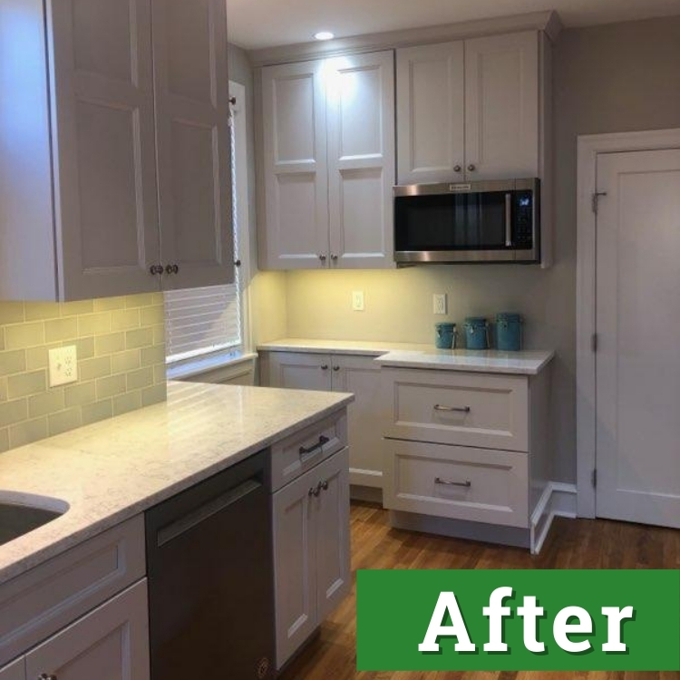 white cabinets and a white brick back splash in a newly remodeled kitchen