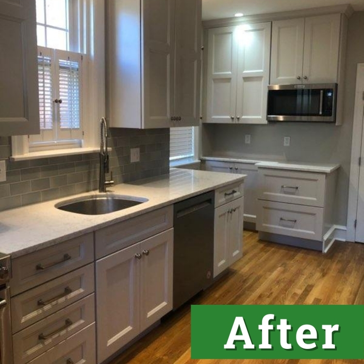 light filters into a newly renovated kitchen with white cabinets
