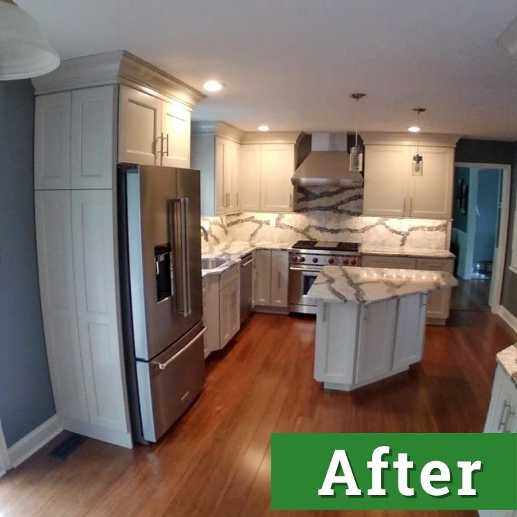 bright lights illuminate a newly renovated kitchen