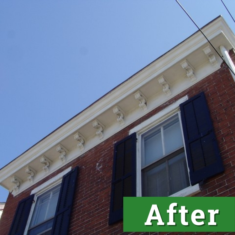 new white paint on the exterior of a brick home