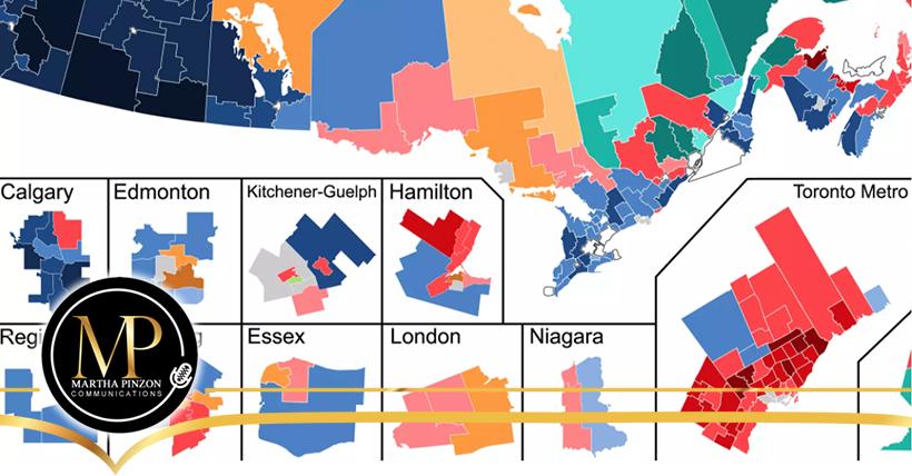 El mapa de los resultados de las elecciones federales en Ontario muestra un panorama muy estable con ligeros cambios
