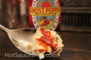Dave's Gourmet Ghost pepper naga Jolokia Hot sauce On food