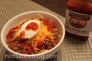 Hot Line Pepper Products Ghost Pepper Sauce on Food