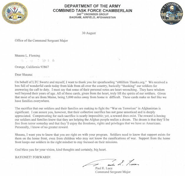 Letter From An Army Command Sergeant Major