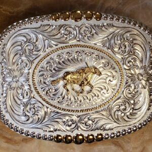 Racehorse and Jockey Belt Buckle Gathered