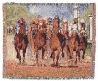 THUNDERING HOOVES HORSE RACING THROW