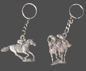 RACEHORSE AND JOCKEY KEYRINGS