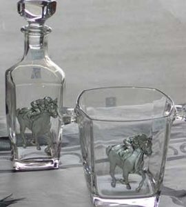 HORSE RACING ICE BUCKET AND DECANTER