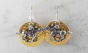 RACEHORSE TWO TONE EARRINGS