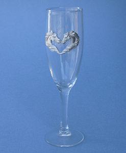 KISSING HORSES CHAMPAGNE GLASSES