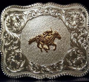 HORSE RACING STERLING SILVER BELT BUCKLE