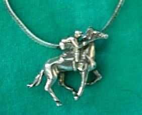 STERLING RACEHORSE AND JOCKEY NECKLACE