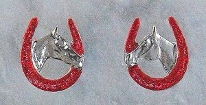 HORSESHOE HORSEHEAD RED EARRINGS