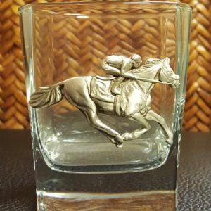 RACEHORSE AND JOCKEY ROCKS GLASS