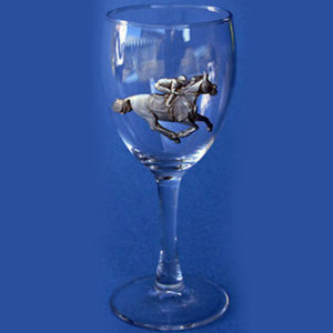 Racehorse and Jockey Wine Glass