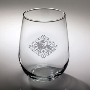 Race Horse and Jockey Etched Stemless Wine Glass