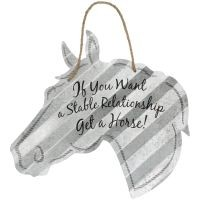 "Stable Relationship Horse Head Metal 5"" Sign"
