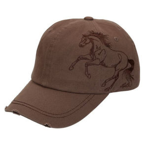 Galloping Horse Embroidered Cap Brown
