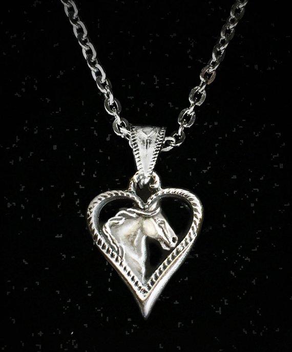 Horse Head Heart Necklace