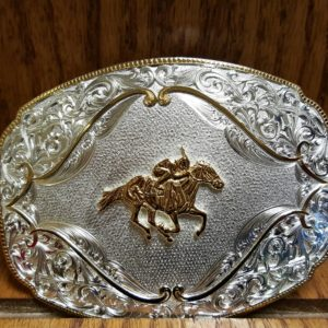 Horse Racing SS Belt Buckle