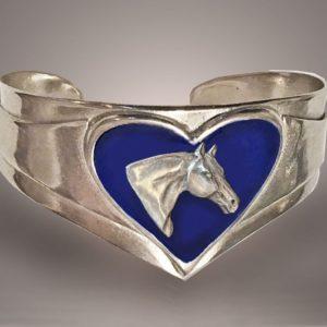 Horse Head Heart Cuff Bracelet
