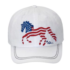 U.S.A. Flag Stars and Stripes Galloping HorseCap