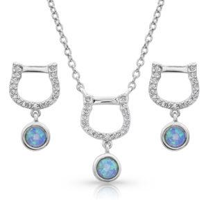 Horseshoe Opal Drop Jewelry Set