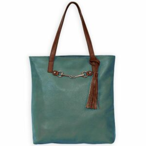 Snaffle Tote With Tassel Teal