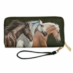 Three Horse Heads Zip Wallet
