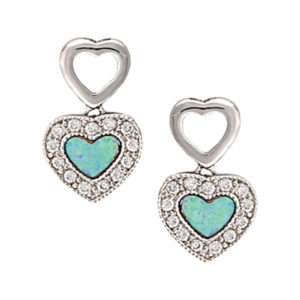 Opal Double Heart Earrings