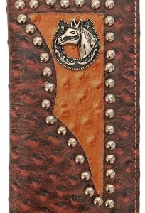 Western Checkbook Wallet Tan