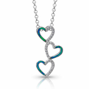 Opal Three Heart Necklace