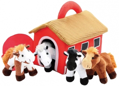 Plush Horses with Barn Carrier